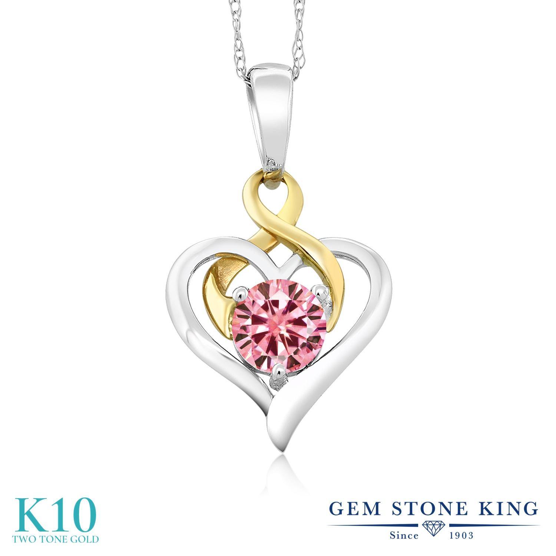 Gem Stone King 0.5カラット ピンク モアサナイト Charles & Colvard ネックレス ペンダント レディース モアッサナイト 小粒 一粒 シンプル 金属アレルギー対応 誕生日プレゼント
