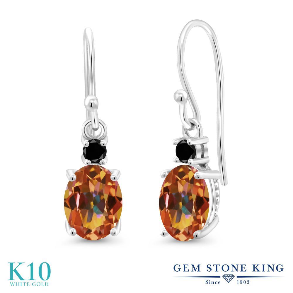 Gem Stone King 2.73カラット 天然石 エクスタシーミスティックトパーズ 天然ブラックダイヤモンド 10金 ホワイトゴールド(K10) ピアス レディース 大粒 ぶら下がり フレンチワイヤー 天然石 金属アレルギー対応 誕生日プレゼント