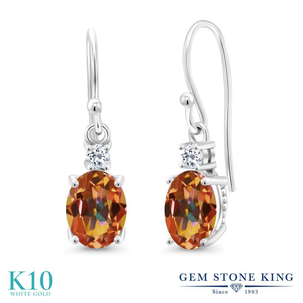 Gem Stone King 2.76カラット 天然石 エクスタシーミスティックトパーズ 天然 トパーズ (無色透明) 10金 ホワイトゴールド(K10) ピアス レディース 大粒 ぶら下がり フレンチワイヤー 天然石 金属アレルギー対応 誕生日プレゼント