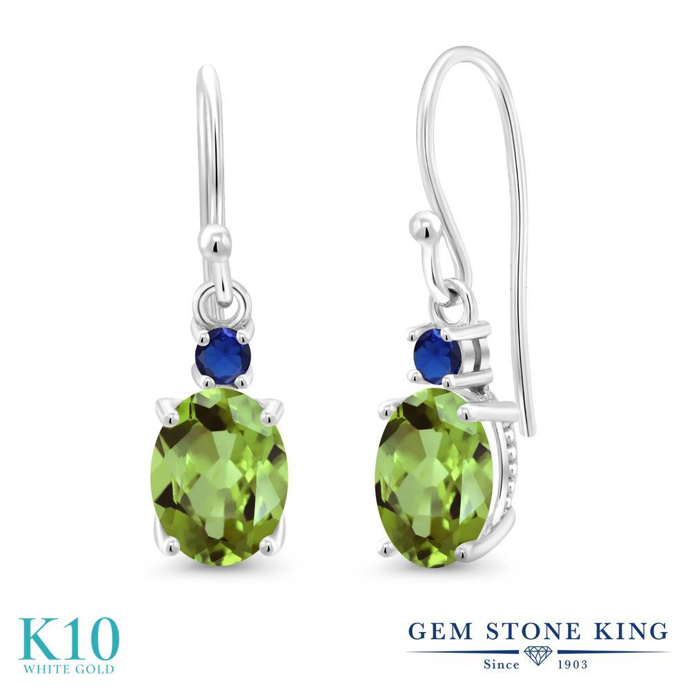 Gem Stone King 2.82カラット 天然石 ペリドット 10金 ホワイトゴールド(K10) ピアス レディース 大粒 ぶら下がり フレンチワイヤー 天然石 8月 誕生石 金属アレルギー対応 誕生日プレゼント