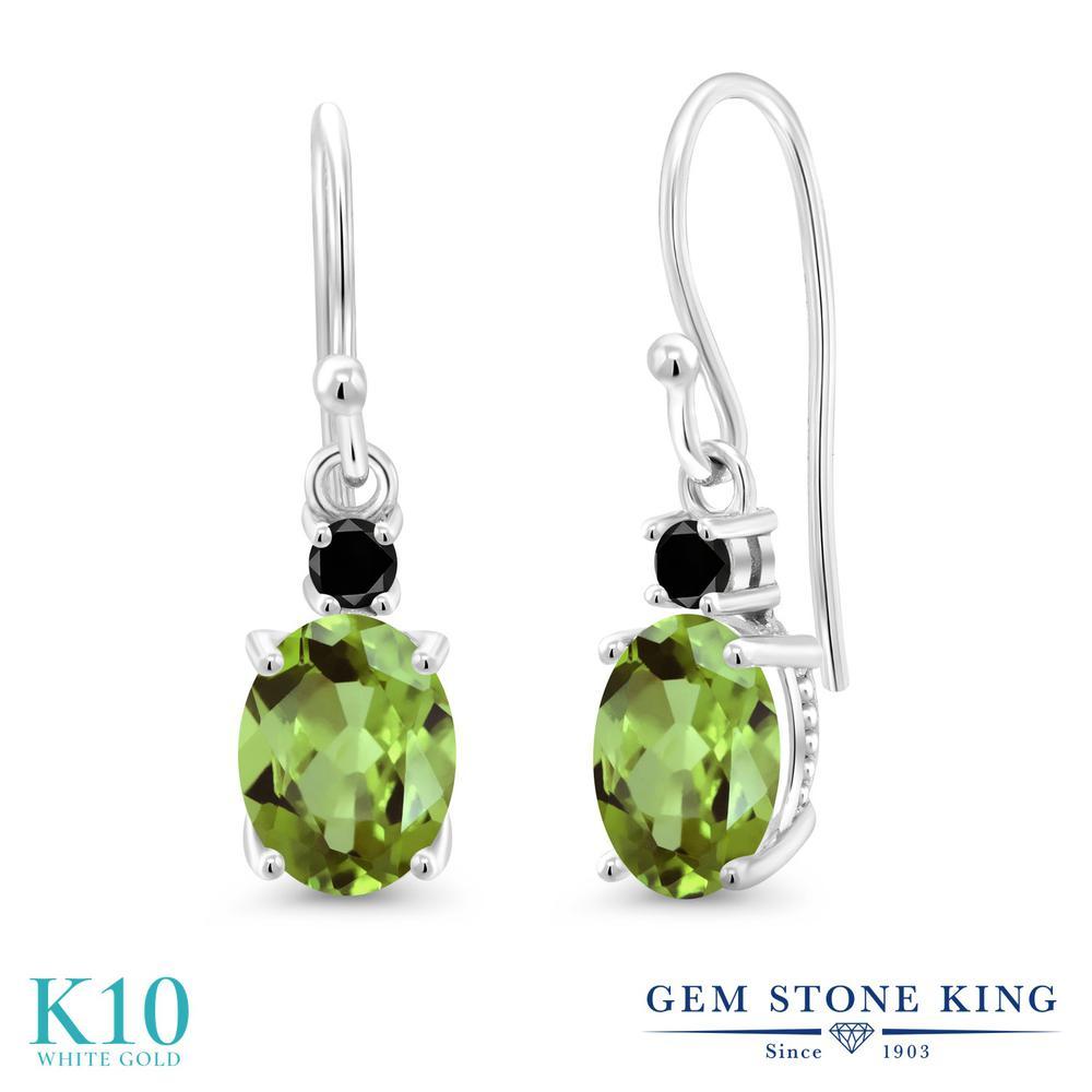 Gem Stone King 2.79カラット 天然石 ペリドット 天然ブラックダイヤモンド 10金 ホワイトゴールド(K10) ピアス レディース 大粒 ぶら下がり フレンチワイヤー 天然石 8月 誕生石 金属アレルギー対応 誕生日プレゼント