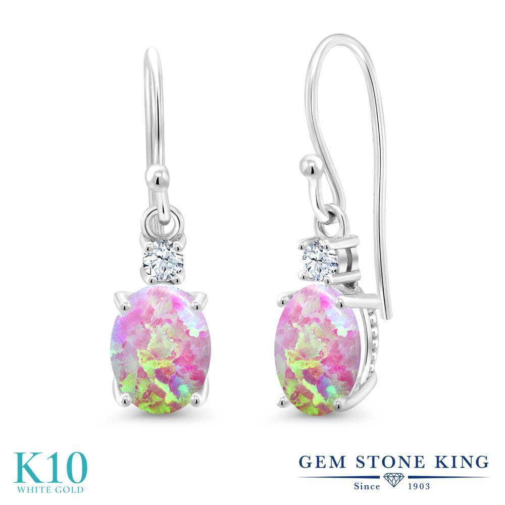 Gem Stone King 2.2カラット シミュレイテッド ピンクオパール 合成ホワイトサファイア (ダイヤのような無色透明) 10金 ホワイトゴールド(K10) ピアス レディース 大粒 ぶら下がり フレンチワイヤー 10月 誕生石 金属アレルギー対応 誕生日プレゼント