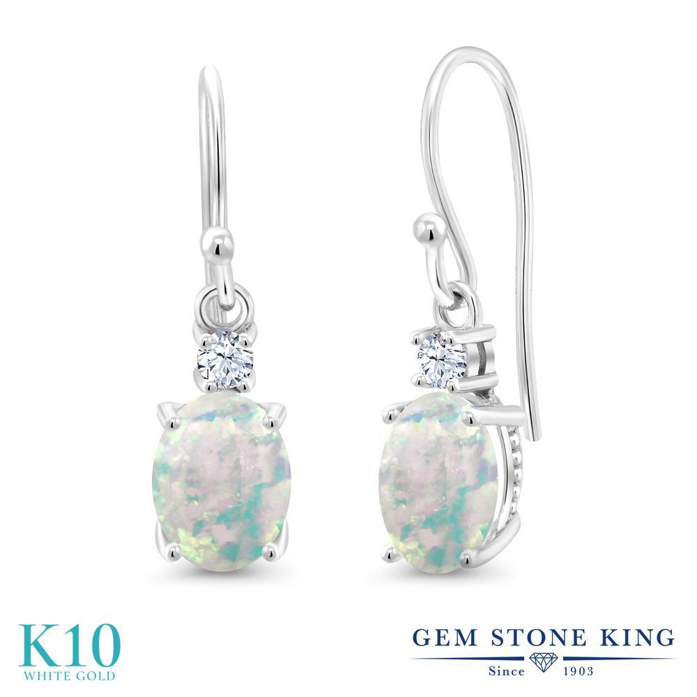 Gem Stone King 2.2カラット シミュレイテッド ホワイトオパール 合成ホワイトサファイア (ダイヤのような無色透明) 10金 ホワイトゴールド(K10) ピアス レディース 大粒 ぶら下がり フレンチワイヤー 10月 誕生石 金属アレルギー対応 誕生日プレゼント