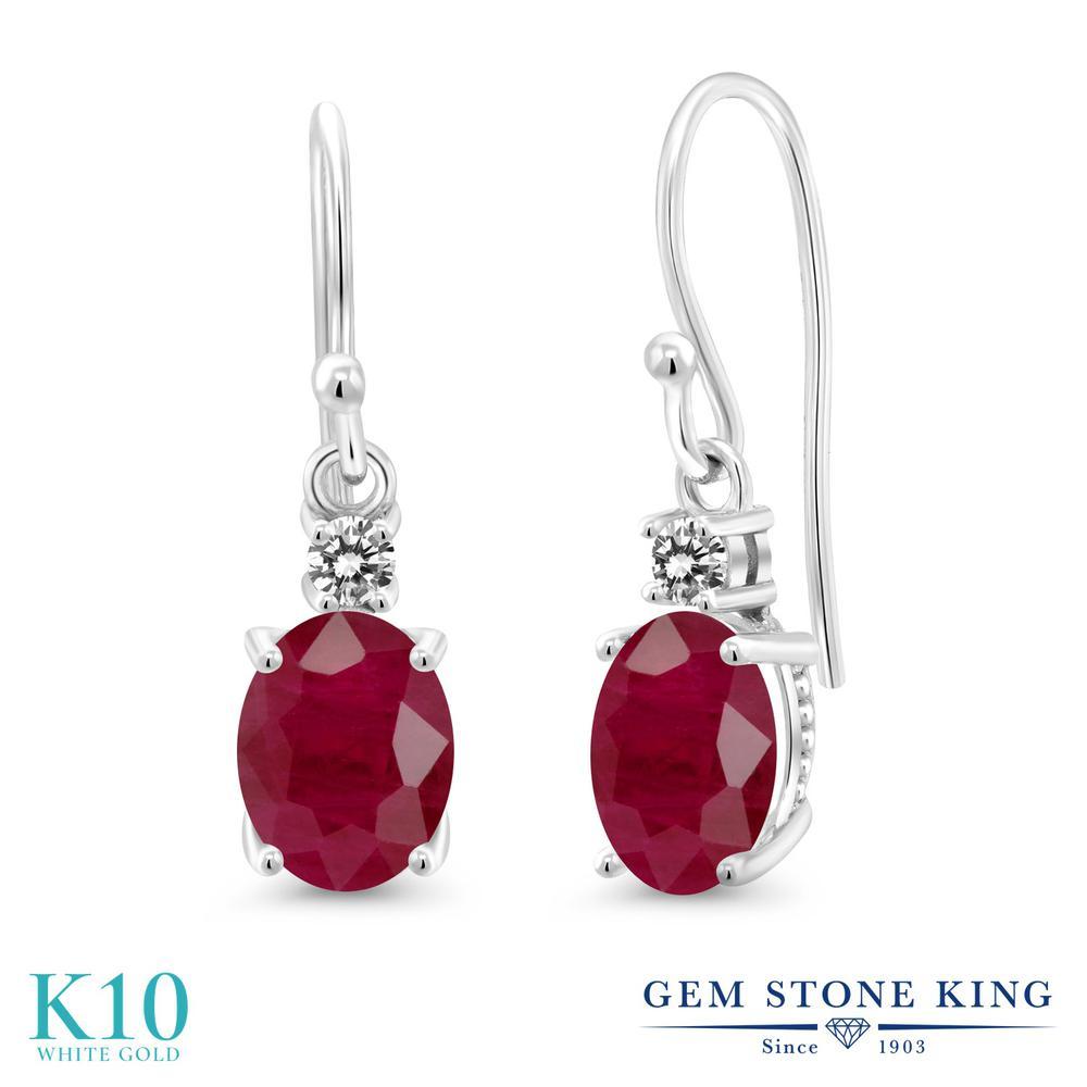 Gem Stone King 3.33カラット 天然 ルビー 天然 ダイヤモンド 10金 ホワイトゴールド(K10) ピアス レディース 大粒 ぶら下がり フレンチワイヤー 天然石 7月 誕生石 金属アレルギー対応 誕生日プレゼント