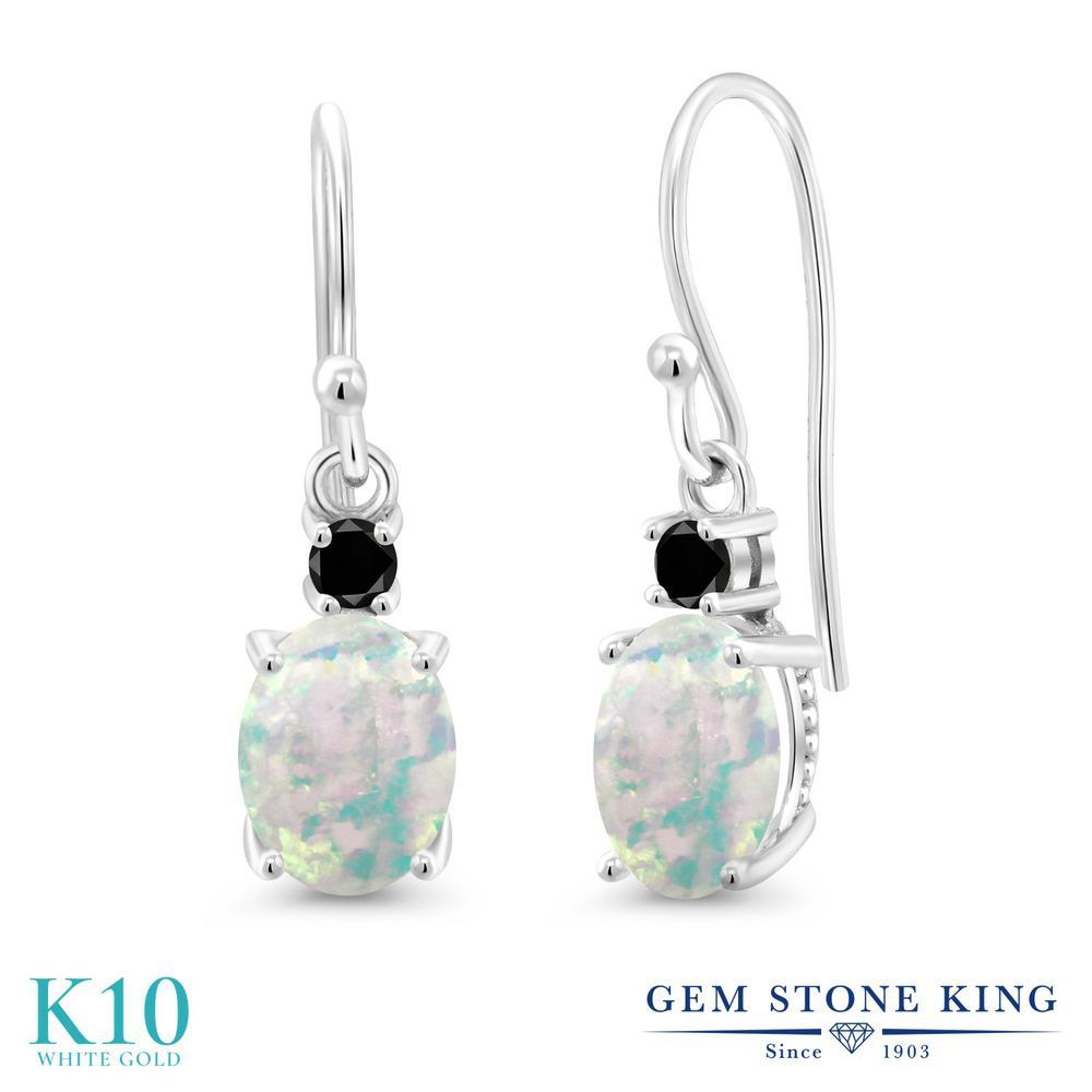 Gem Stone King 2.23カラット シミュレイテッド ホワイトオパール 天然ブラックダイヤモンド 10金 ホワイトゴールド(K10) ピアス レディース 大粒 ぶら下がり フレンチワイヤー 10月 誕生石 金属アレルギー対応 誕生日プレゼント