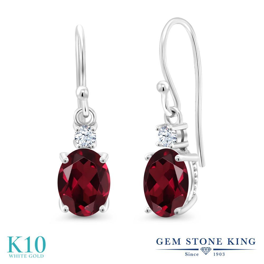Gem Stone King 2.8カラット 天然 ロードライトガーネット 合成ホワイトサファイア (ダイヤのような無色透明) 10金 ホワイトゴールド(K10) ピアス レディース 大粒 ぶら下がり フレンチワイヤー 天然石 金属アレルギー対応 誕生日プレゼント