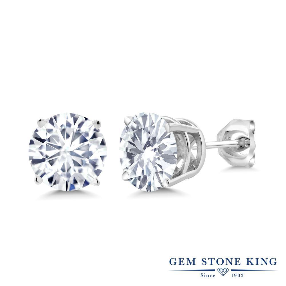 Gem Stone King 2カラット Forever Classic モアッサナイト Charles & Colvard シルバー925 ピアス レディース モアサナイト 大粒 シンプル スタッド 金属アレルギー対応 誕生日プレゼント
