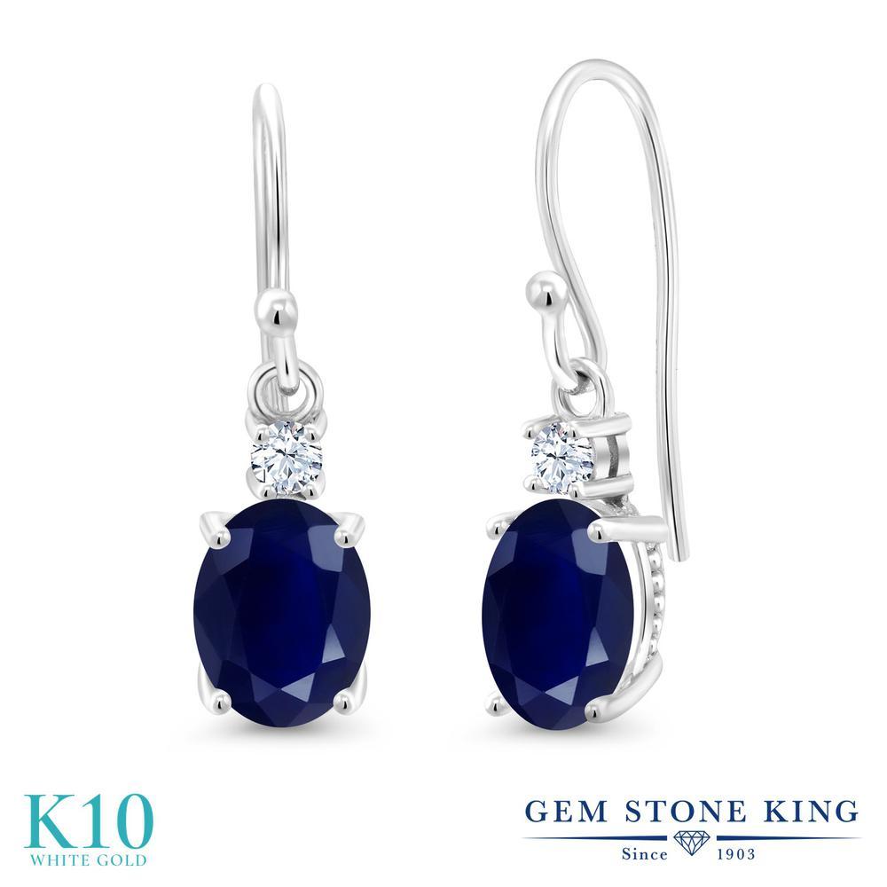 Gem Stone King 3.68カラット 天然 サファイア 合成ホワイトサファイア (ダイヤのような無色透明) 10金 ホワイトゴールド(K10) ピアス レディース 大粒 ぶら下がり フレンチワイヤー 天然石 9月 誕生石 金属アレルギー対応 誕生日プレゼント