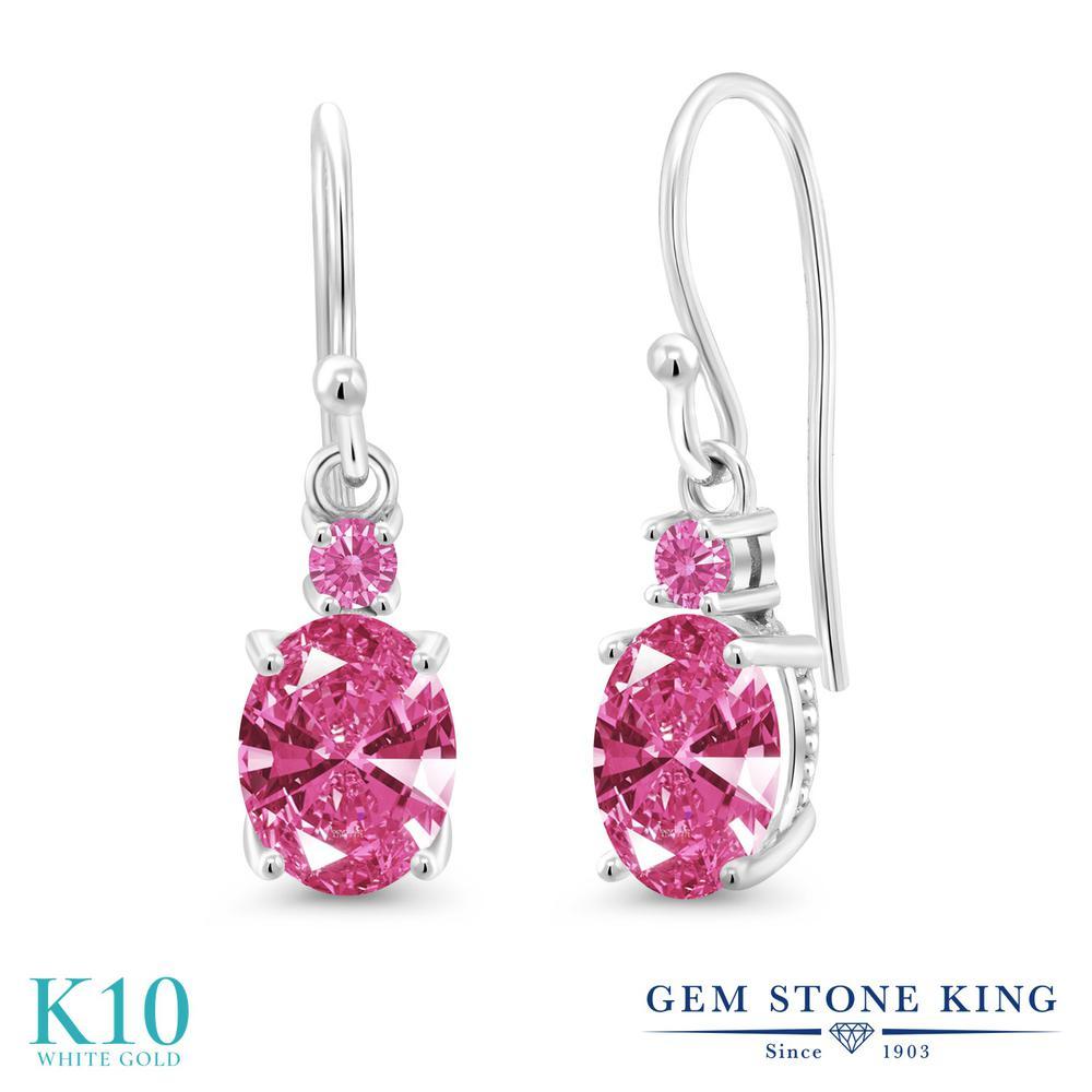 Gem Stone King 2.52カラット スワロフスキージルコニア (ピンク) 10金 ホワイトゴールド(K10) ピアス レディース CZ 大粒 ぶら下がり フレンチワイヤー 金属アレルギー対応 誕生日プレゼント