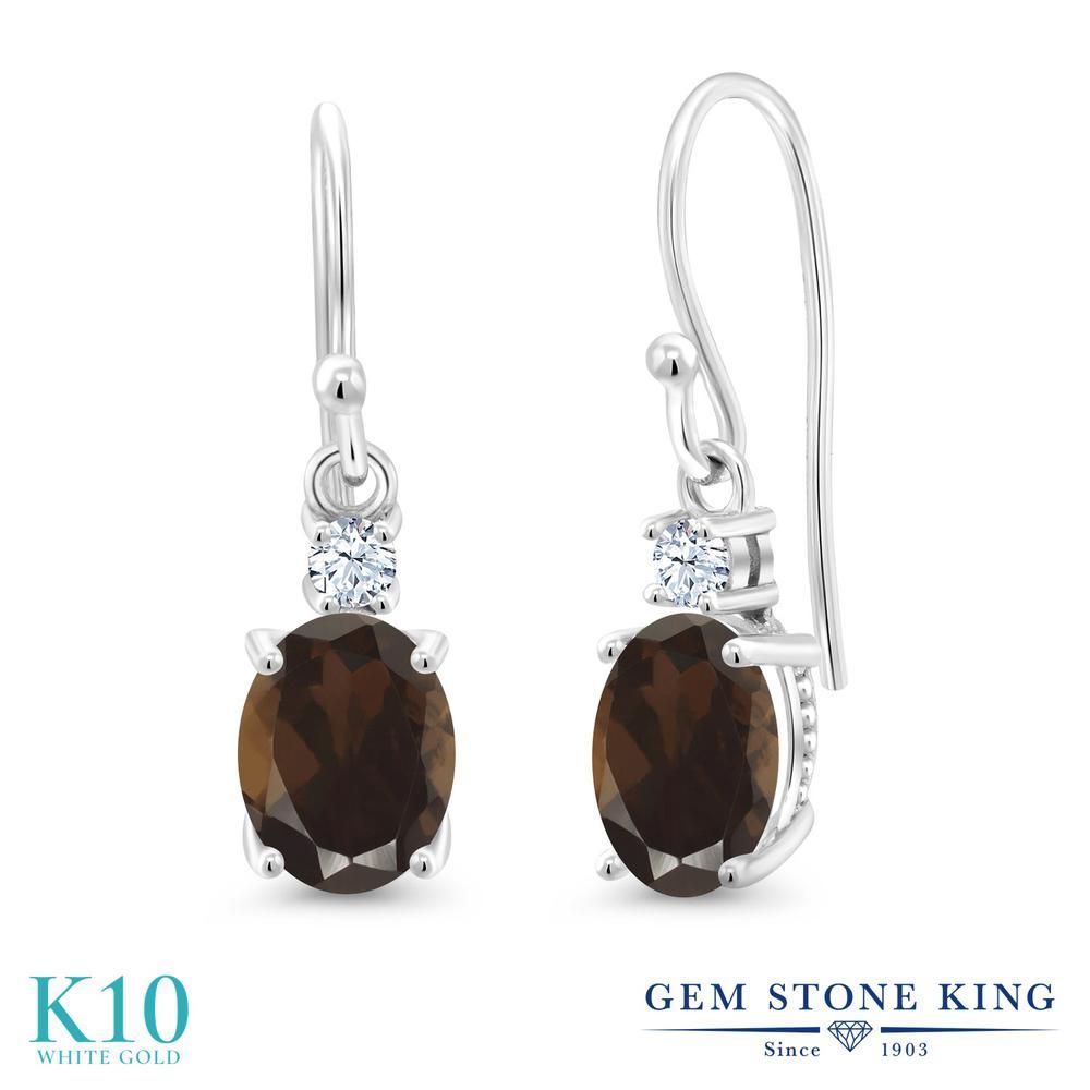 Gem Stone King 2.5カラット 天然 スモーキークォーツ (ブラウン) 合成ホワイトサファイア (ダイヤのような無色透明) 10金 ホワイトゴールド(K10) ピアス レディース 大粒 ぶら下がり フレンチワイヤー 天然石 金属アレルギー対応 誕生日プレゼント