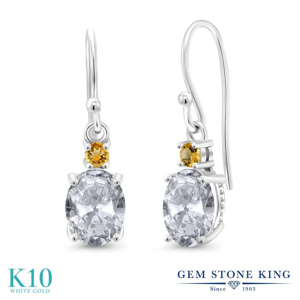 Gem Stone King 2.74カラット 天然 トパーズ (無色透明) イエローシトリン 10金 ホワイトゴールド(K10) ピアス レディース 大粒 ぶら下がり フレンチワイヤー 天然石 11月 誕生石 金属アレルギー対応 誕生日プレゼント