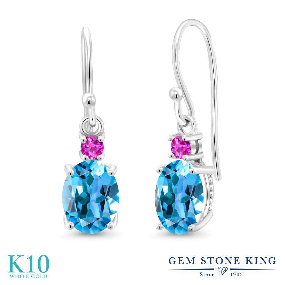 Gem Stone King 2.76カラット 天然 スイスブルートパーズ ピンクサファイア 10金 ホワイトゴールド(K10) ピアス レディース 大粒 ぶら下がり フレンチワイヤー 天然石 11月 誕生石 金属アレルギー対応 誕生日プレゼント