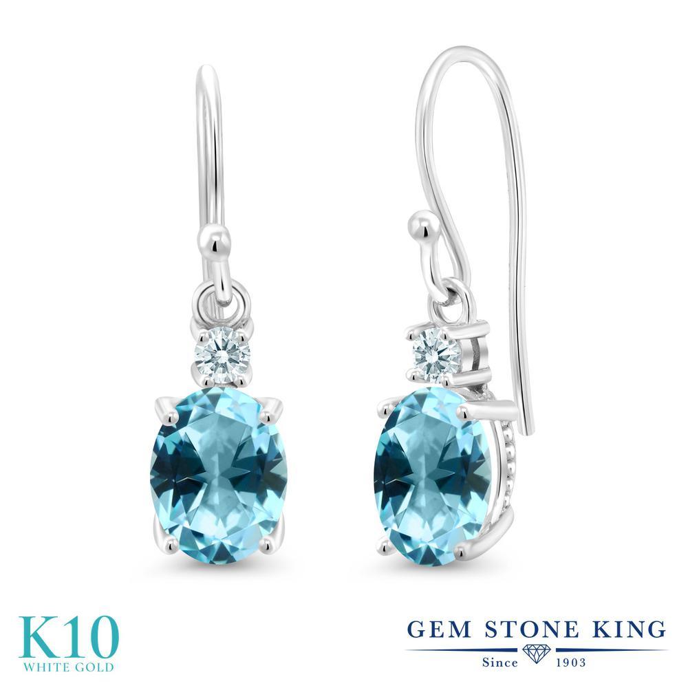 Gem Stone King 2.74カラット 天然石 アイスブルートパーズ (スワロフスキー 天然石シリーズ) 10金 ホワイトゴールド(K10) ピアス レディース 大粒 ぶら下がり フレンチワイヤー 天然石 金属アレルギー対応 誕生日プレゼント