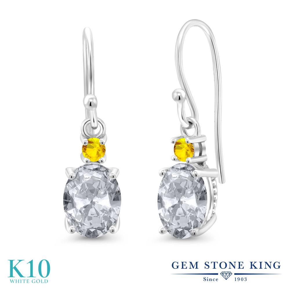 Gem Stone King 2.77カラット 天然 トパーズ (無色透明) イエローサファイア 10金 ホワイトゴールド(K10) ピアス レディース 大粒 ぶら下がり フレンチワイヤー 天然石 11月 誕生石 金属アレルギー対応 誕生日プレゼント