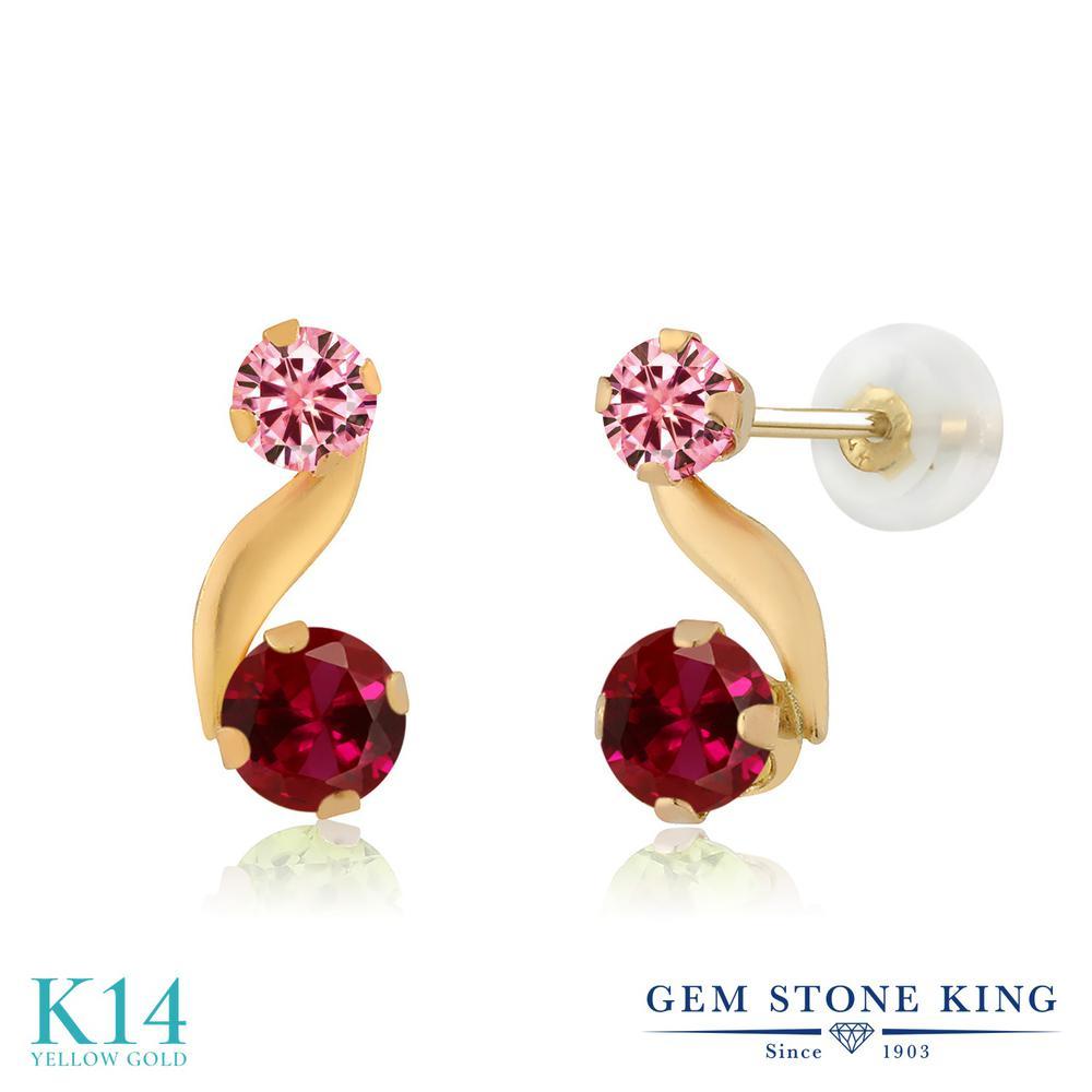 Gem Stone King 0.7カラット 合成ルビー モアッサナイト Charles & Colvard 14金 イエローゴールド(K14) ピアス レディース 小粒 スタッド 金属アレルギー対応 誕生日プレゼント