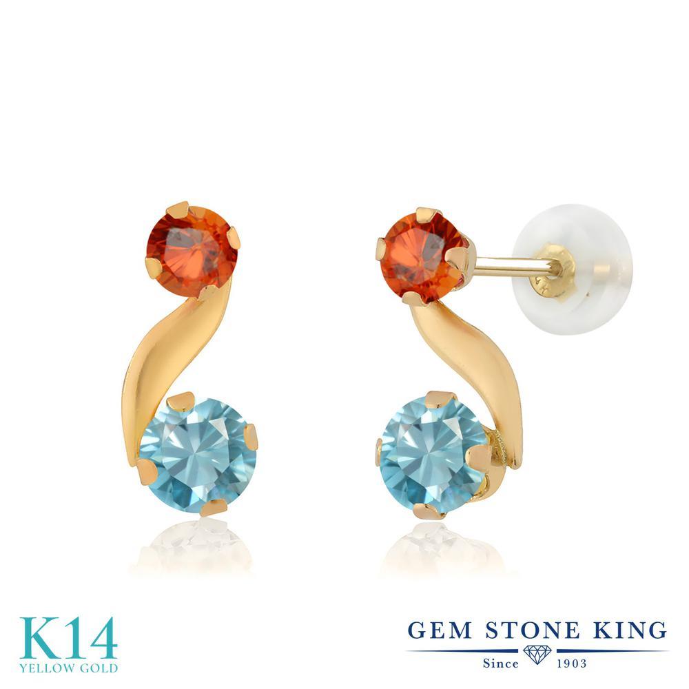 Gem Stone King 1.26カラット 天然石 ブルージルコン 天然 オレンジサファイア 14金 イエローゴールド(K14) ピアス レディース 小粒 スタッド 天然石 12月 誕生石 金属アレルギー対応 誕生日プレゼント