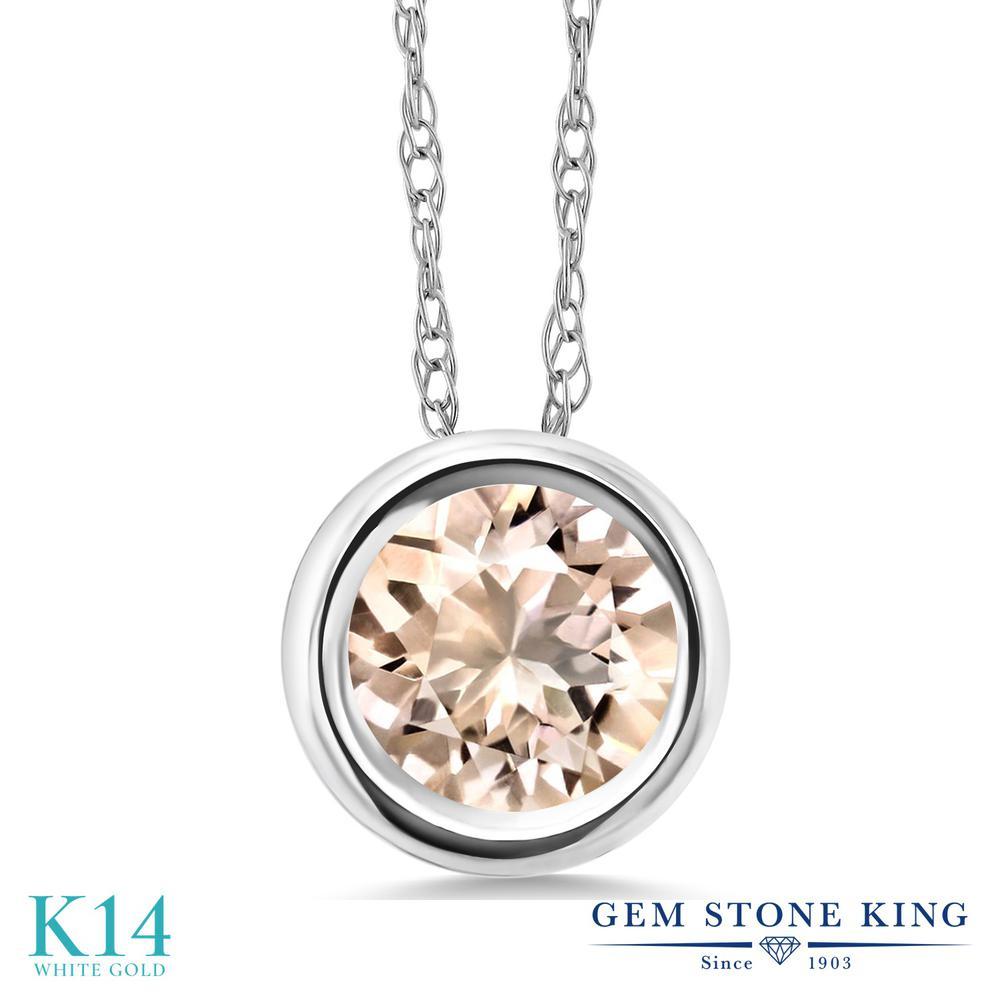 Gem Stone King 0.6カラット 天然 モルガナイト (ピーチ) 14金 ホワイトゴールド(K14) ネックレス ペンダント レディース 一粒 シンプル 天然石 3月 誕生石 金属アレルギー対応 誕生日プレゼント