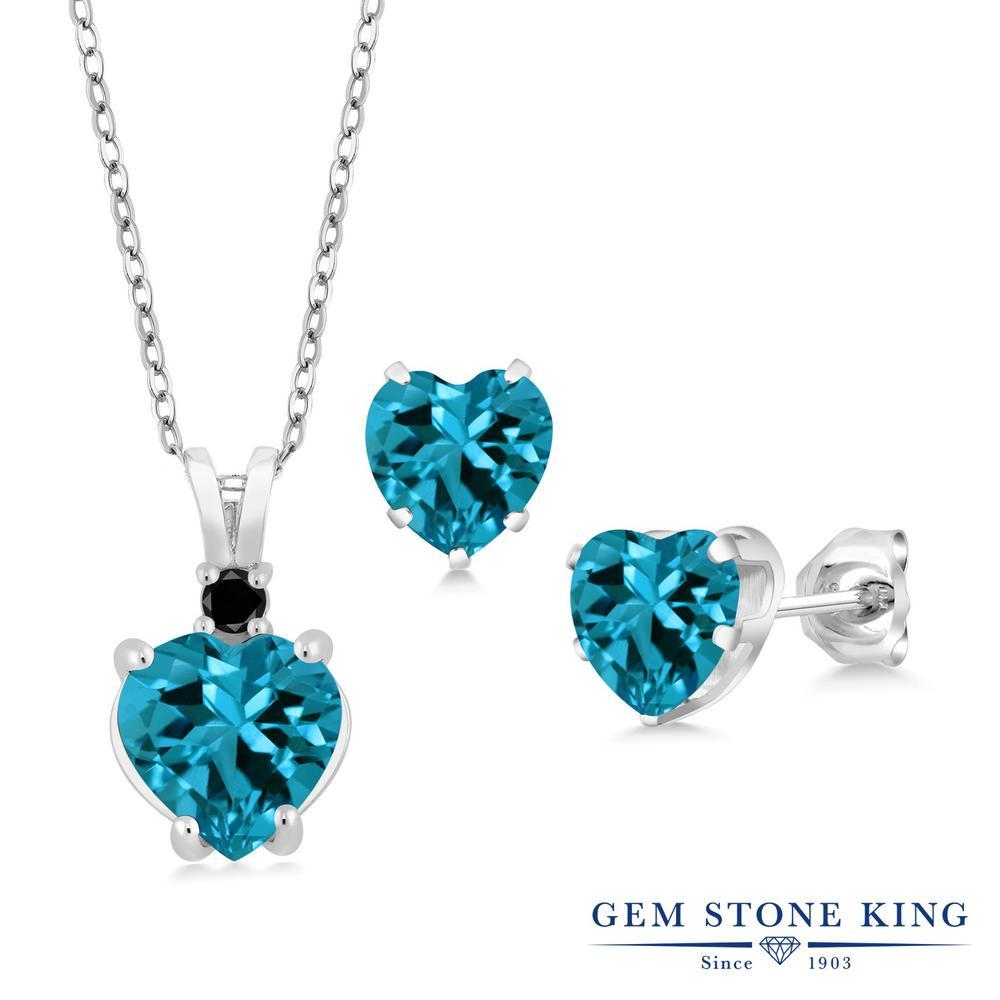 Gem Stone King 4.07カラット 天然トパーズ(ロンドンブルー) 天然ブラックダイヤモンド シルバー925 天然ブラックダイヤモンド ペンダント&ピアスセット レディース 大粒 天然石 誕生石 誕生日プレゼント