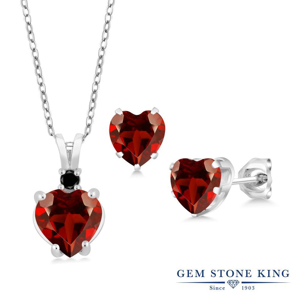 Gem Stone King 3.67カラット 天然ガーネット 天然ブラックダイヤモンド シルバー925 天然ブラックダイヤモンド ペンダント&ピアスセット レディース 大粒 天然石 誕生石 誕生日プレゼント