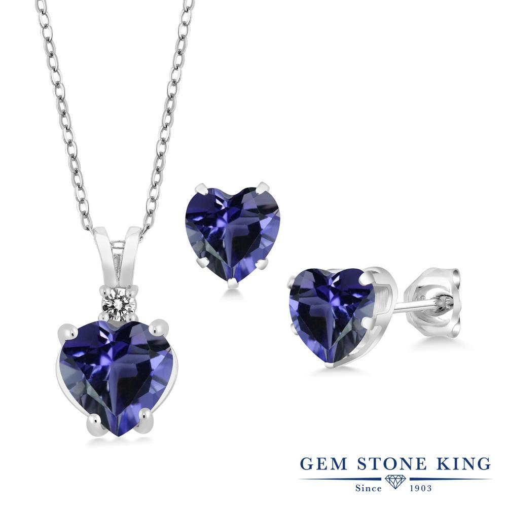 Gem Stone King 2.48カラット 天然 アイオライト (ブルー) 天然 ダイヤモンド シルバー925 ペンダント&ピアスセット レディース 大粒 天然石 金属アレルギー対応 誕生日プレゼント