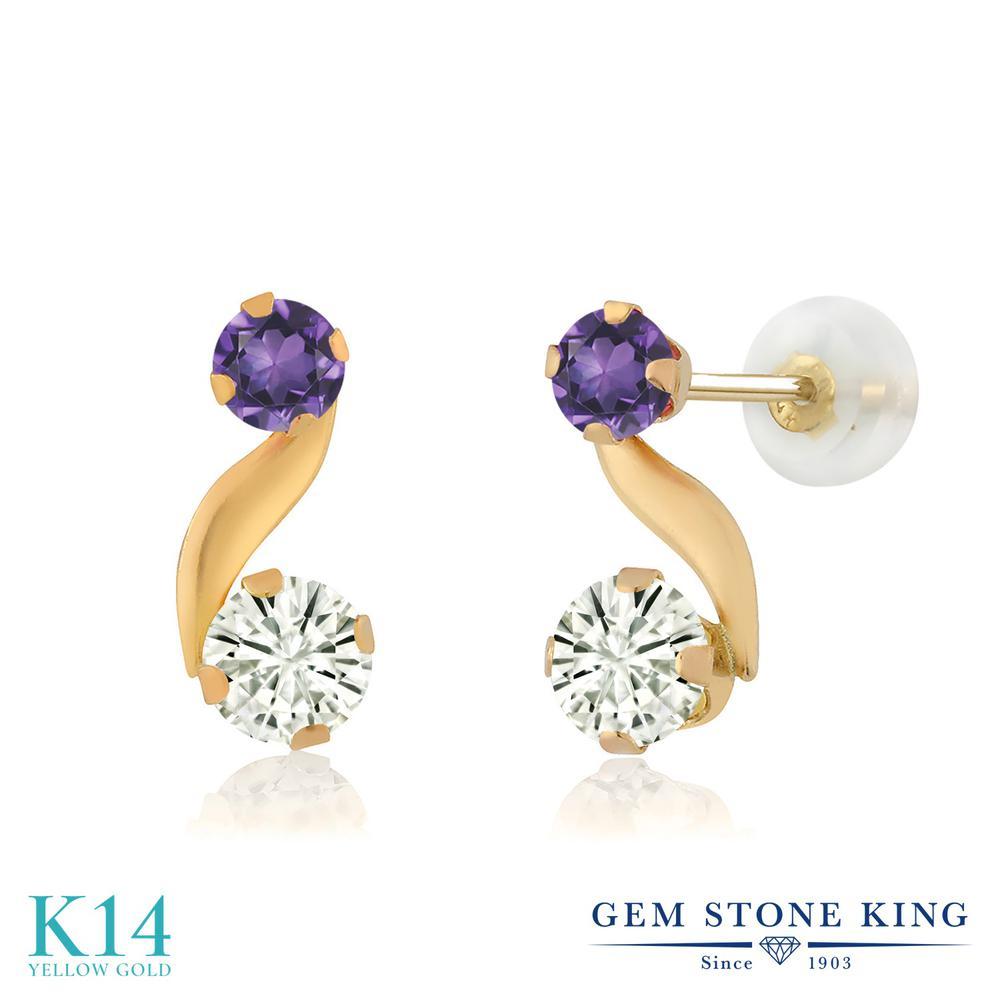 Gem Stone King 0.66カラット Forever Classic モアサナイト Charles & Colvard 天然 アメジスト 14金 イエローゴールド(K14) ピアス レディース モアッサナイト 小粒 スタッド 金属アレルギー対応 誕生日プレゼント