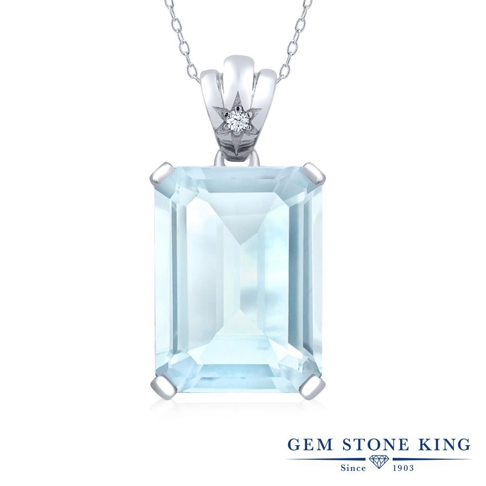 Gem Stone King 20.03カラット 天然 スカイブルートパーズ 天然 トパーズ (無色透明) シルバー925 ネックレス ペンダント レディース 大粒 シンプル 天然石 11月 誕生石 金属アレルギー対応 誕生日プレゼント