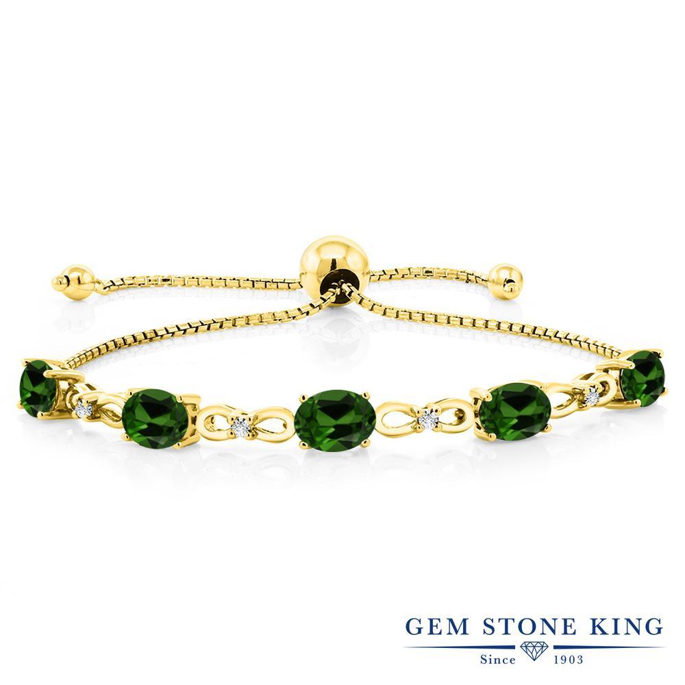 Gem Stone King 4カラット 天然 クロムダイオプサイド 天然 ダイヤモンド シルバー925 イエローゴールドコーティング ブレスレット テニスブレスレット レディース 天然石 金属アレルギー対応 誕生日プレゼント