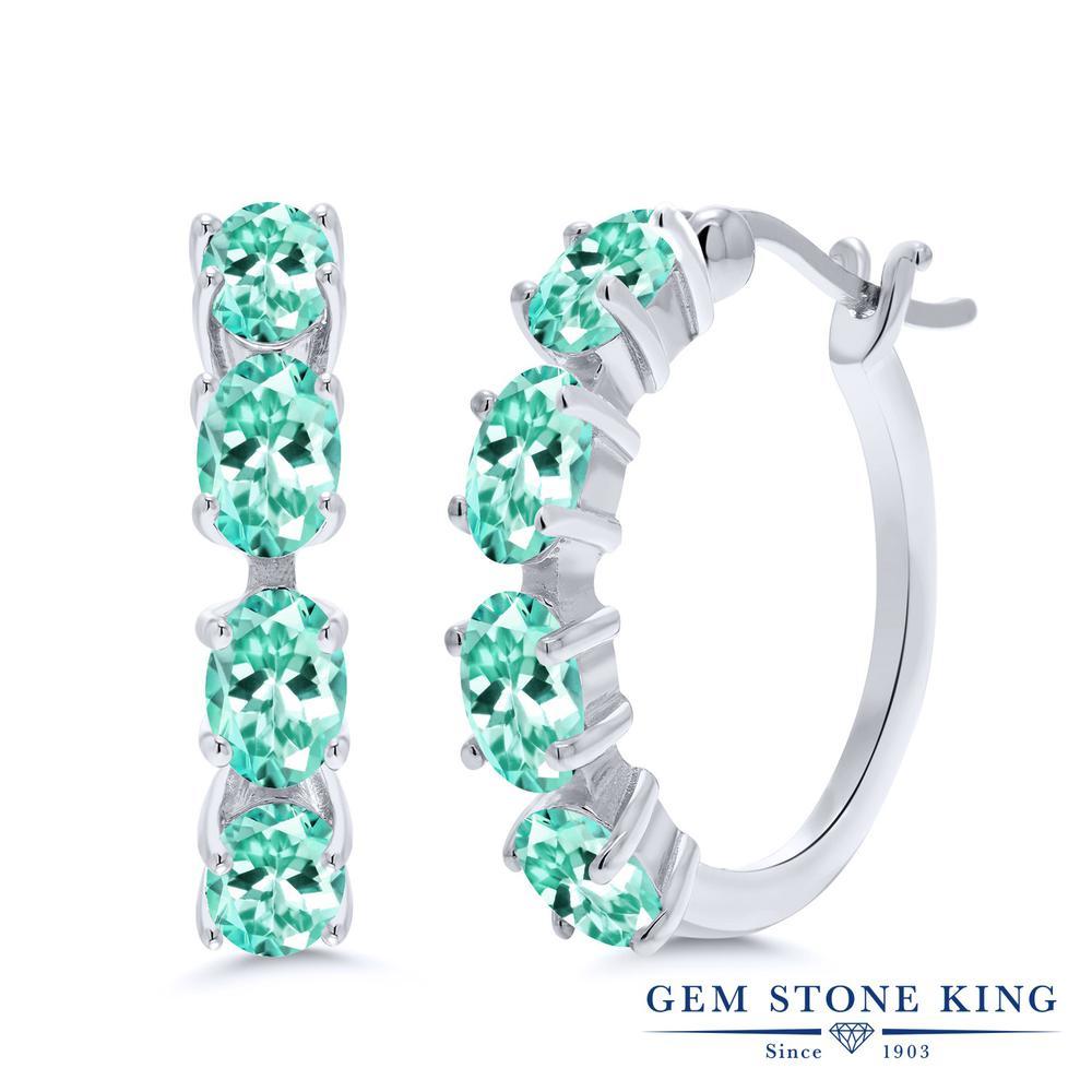 Gem Stone King 4.19カラット 天然 アパタイト シルバー925 ピアス レディース フープ 華奢 細身 天然石 金属アレルギー対応 誕生日プレゼント