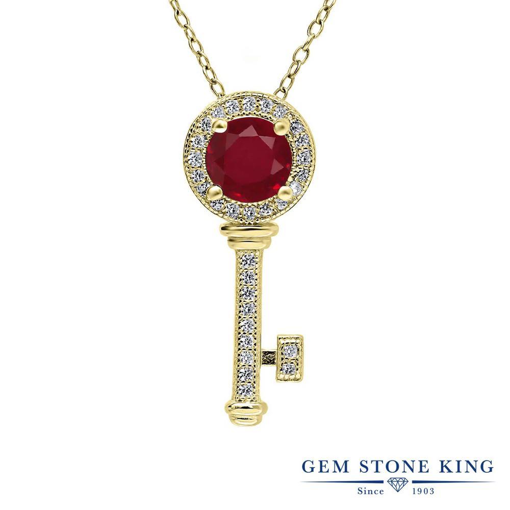 Gem Stone King 1.42カラット 天然 ルビー シルバー925 イエローゴールドコーティング ネックレス ペンダント レディース 大粒 キー 鍵 天然石 7月 誕生石 金属アレルギー対応 誕生日プレゼント