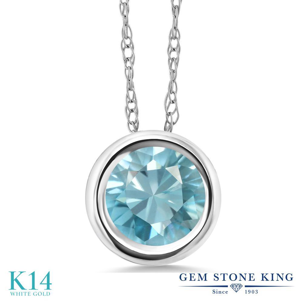 Gem Stone King 1.2カラット 天然石 ブルージルコン 14金 ホワイトゴールド(K14) ネックレス ペンダント レディース 大粒 一粒 シンプル 天然石 12月 誕生石 金属アレルギー対応 誕生日プレゼント
