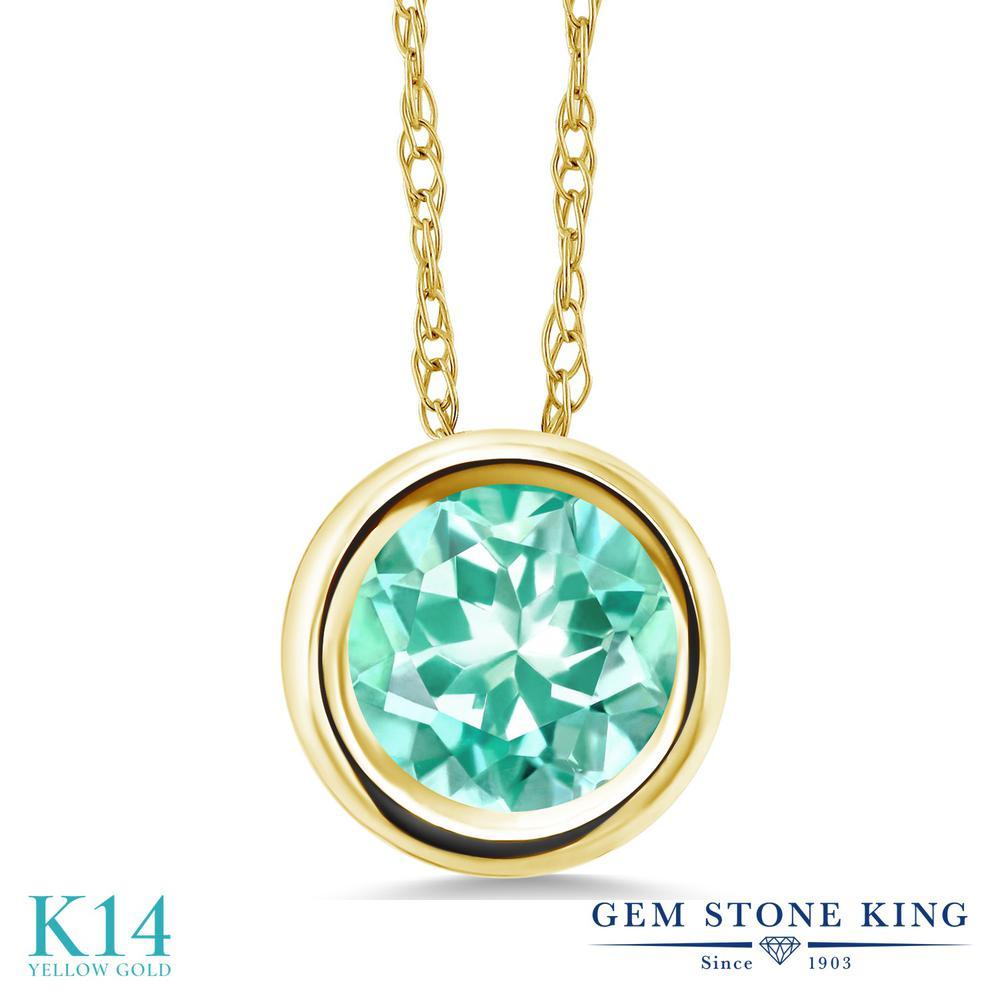 Gem Stone King 0.82カラット 天然 アパタイト 14金 イエローゴールド(K14) ネックレス ペンダント レディース 一粒 シンプル 天然石 金属アレルギー対応 誕生日プレゼント