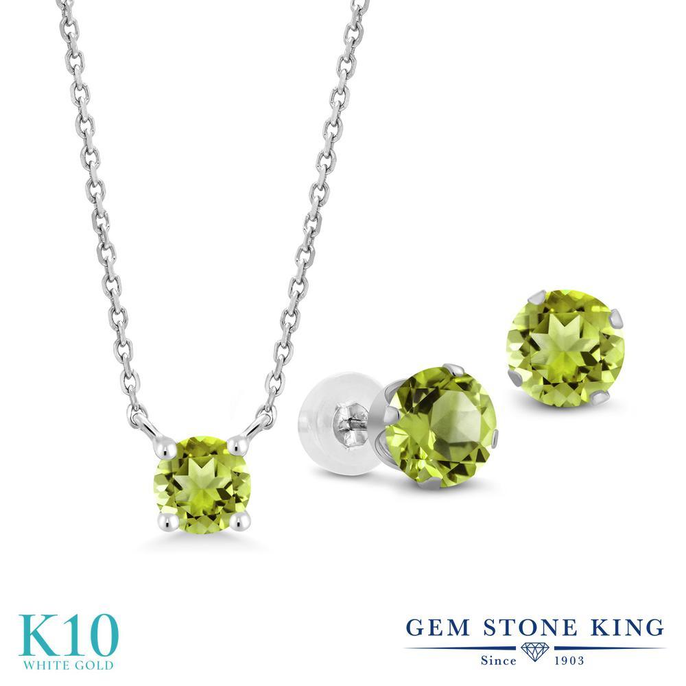 Gem Stone King 2カラット 天然石 ペリドット 10金 ホワイトゴールド(K10) ペンダント&ピアスセット レディース 小粒 シンプル 天然石 8月 誕生石 金属アレルギー対応 誕生日プレゼント