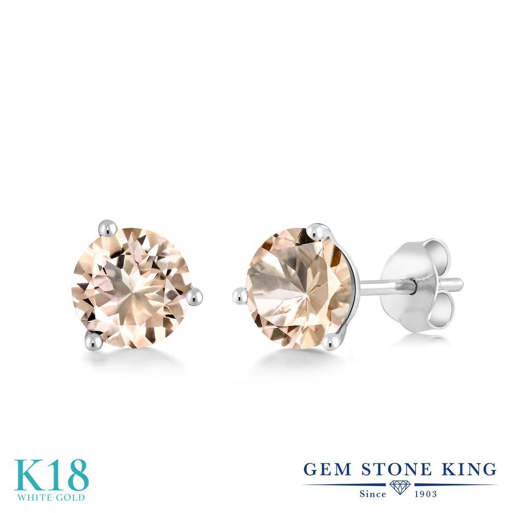 Gem Stone King 0.8カラット 天然 モルガナイト (ピーチ) 18金 ホワイトゴールド(K18) ピアス レディース 小粒 シンプル スタッド 天然石 3月 誕生石 金属アレルギー対応 誕生日プレゼント