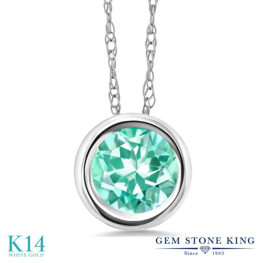 Gem Stone King 0.82カラット 天然 アパタイト 14金 ホワイトゴールド(K14) ネックレス ペンダント レディース 一粒 シンプル 天然石 金属アレルギー対応 誕生日プレゼント