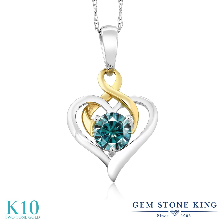 Gem Stone King 0.5カラット ブルー モアサナイト Charles & Colvard ネックレス ペンダント レディース モアッサナイト 小粒 一粒 シンプル 金属アレルギー対応 誕生日プレゼント