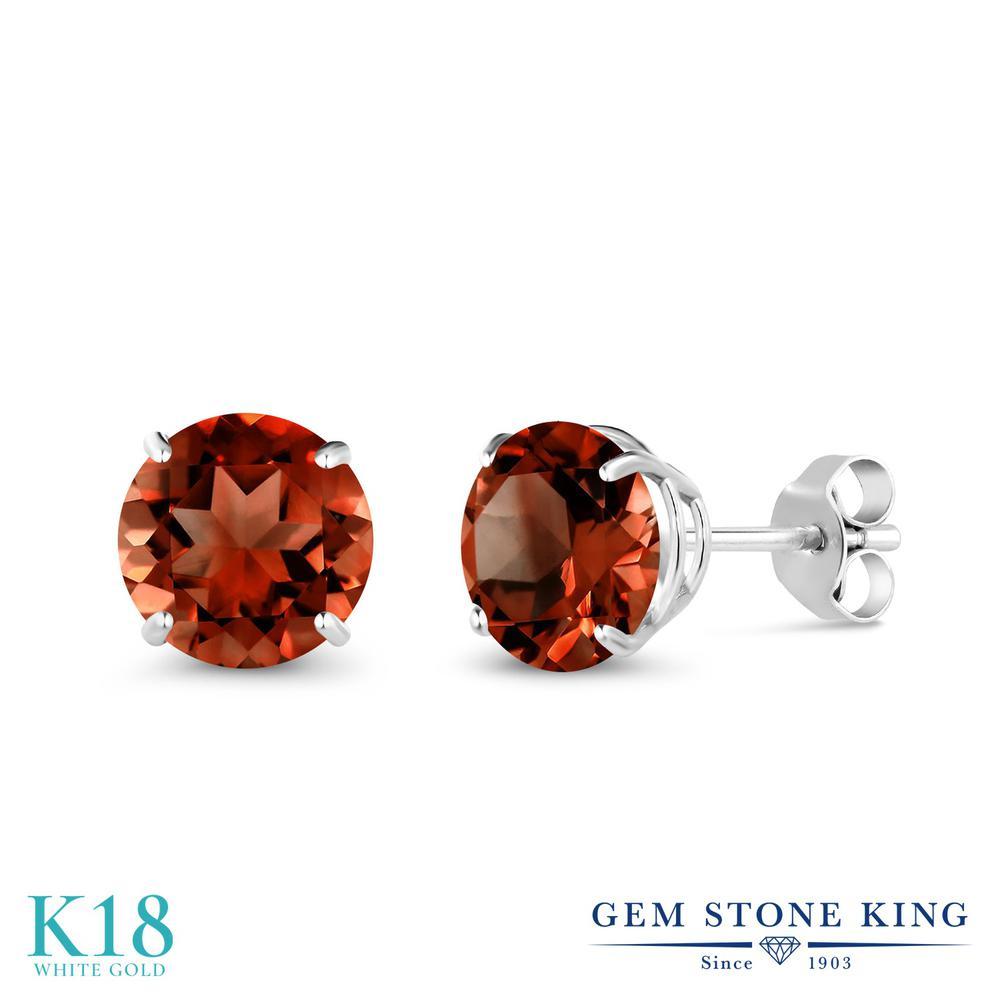 Gem Stone King 2カラット 天然 ガーネット 18金 ホワイトゴールド(K18) ピアス レディース 大粒 シンプル スタッド 天然石 1月 誕生石 金属アレルギー対応 誕生日プレゼント
