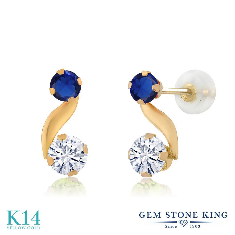 Gem Stone King 0.72カラット Forever Classic モアサナイト Charles & Colvard シミュレイテッド サファイア 14金 イエローゴールド(K14) ピアス レディース モアッサナイト 小粒 スタッド 金属アレルギー対応 誕生日プレゼント
