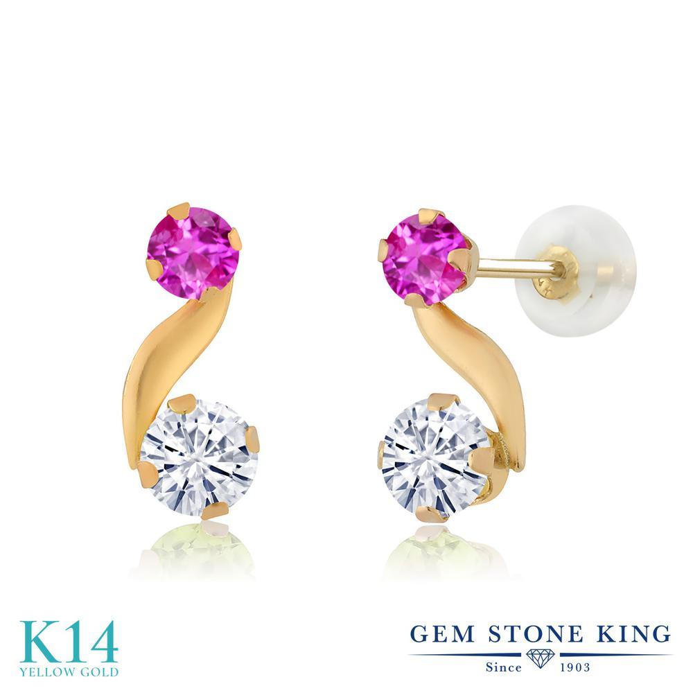 Gem Stone King 0.72カラット Forever Classic モアサナイト Charles & Colvard ピンクサファイア 14金 イエローゴールド(K14) ピアス レディース モアッサナイト 小粒 スタッド 金属アレルギー対応 誕生日プレゼント