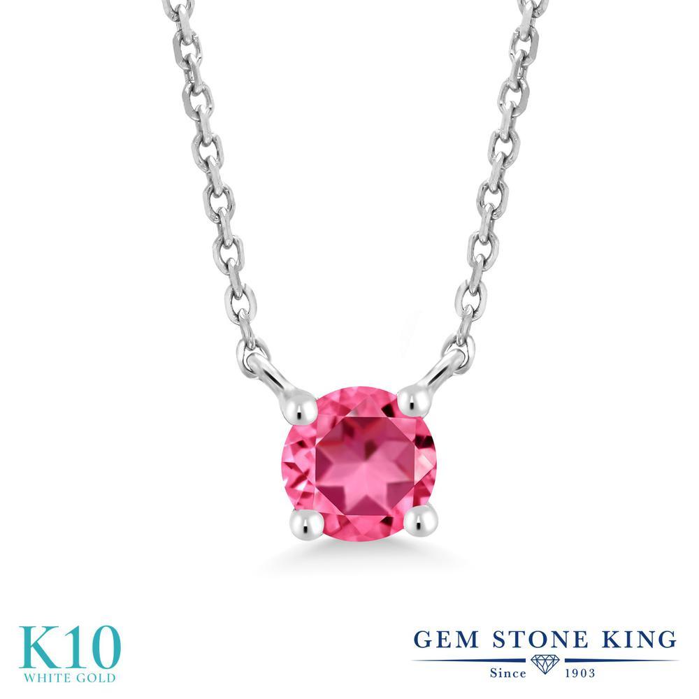 Gem Stone King 0.3カラット 天然石 ピンクトパーズ (スワロフスキー 天然石シリーズ) 10金 ホワイトゴールド(K10) ネックレス レディース 小粒 一粒 シンプル 天然石 金属アレルギー対応 誕生日プレゼント