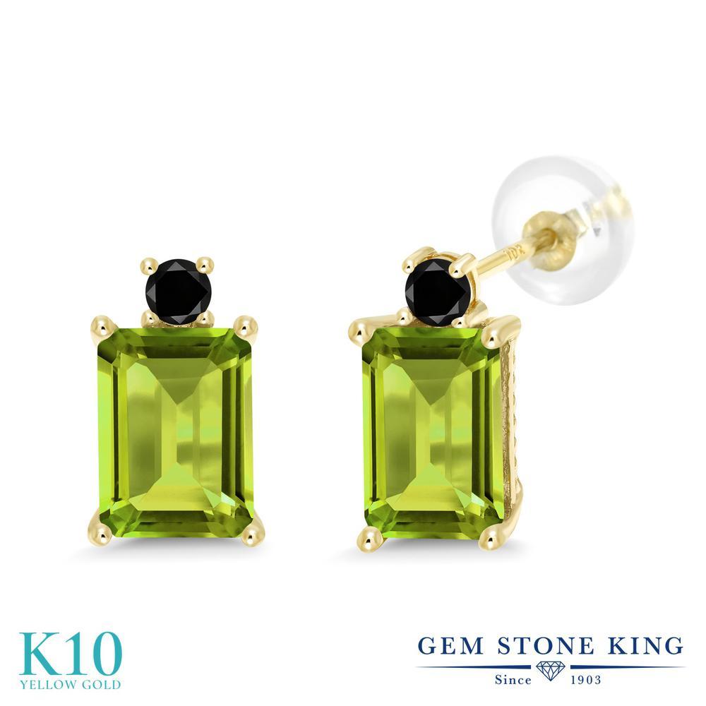 Gem Stone King 3.43カラット 天然石 ペリドット 天然ブラックダイヤモンド 10金 イエローゴールド(K10) ピアス レディース 大粒 スタッド 天然石 8月 誕生石 金属アレルギー対応 誕生日プレゼント
