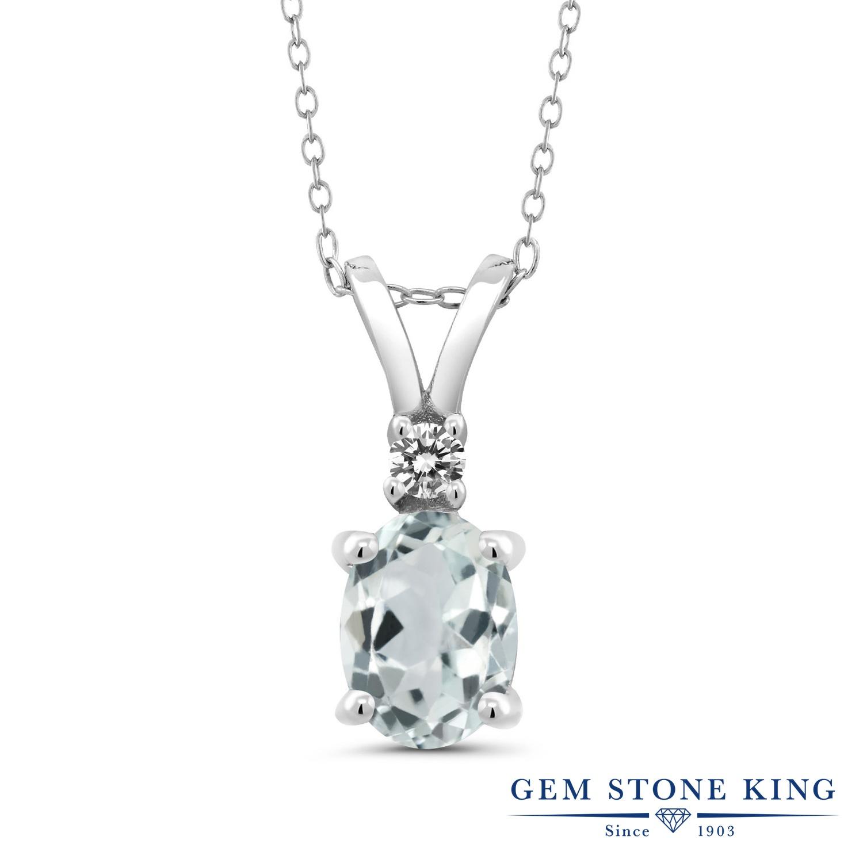 Gem Stone King 1.27カラット 天然 アクアマリン 天然 ダイヤモンド シルバー925 ネックレス ペンダント レディース 大粒 シンプル 天然石 3月 誕生石 金属アレルギー対応 誕生日プレゼント