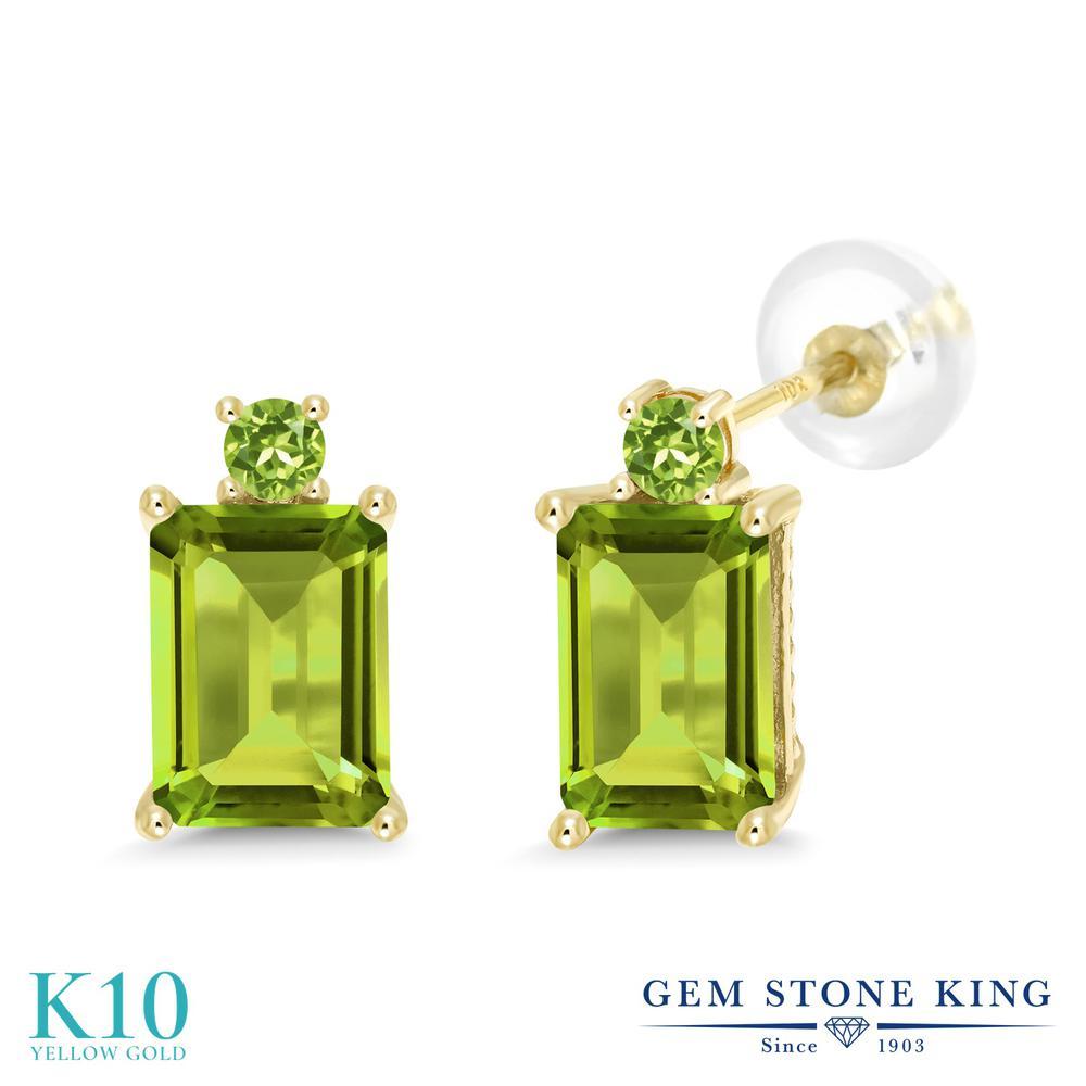 Gem Stone King 3.44カラット 天然石 ペリドット 10金 イエローゴールド(K10) ピアス レディース 大粒 スタッド 天然石 8月 誕生石 金属アレルギー対応 誕生日プレゼント