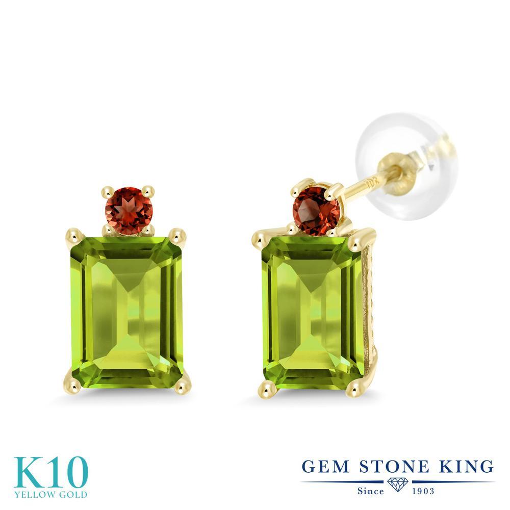 Gem Stone King 3.48カラット 天然石 ペリドット 天然 ガーネット 10金 イエローゴールド(K10) ピアス レディース 大粒 スタッド 天然石 8月 誕生石 金属アレルギー対応 誕生日プレゼント