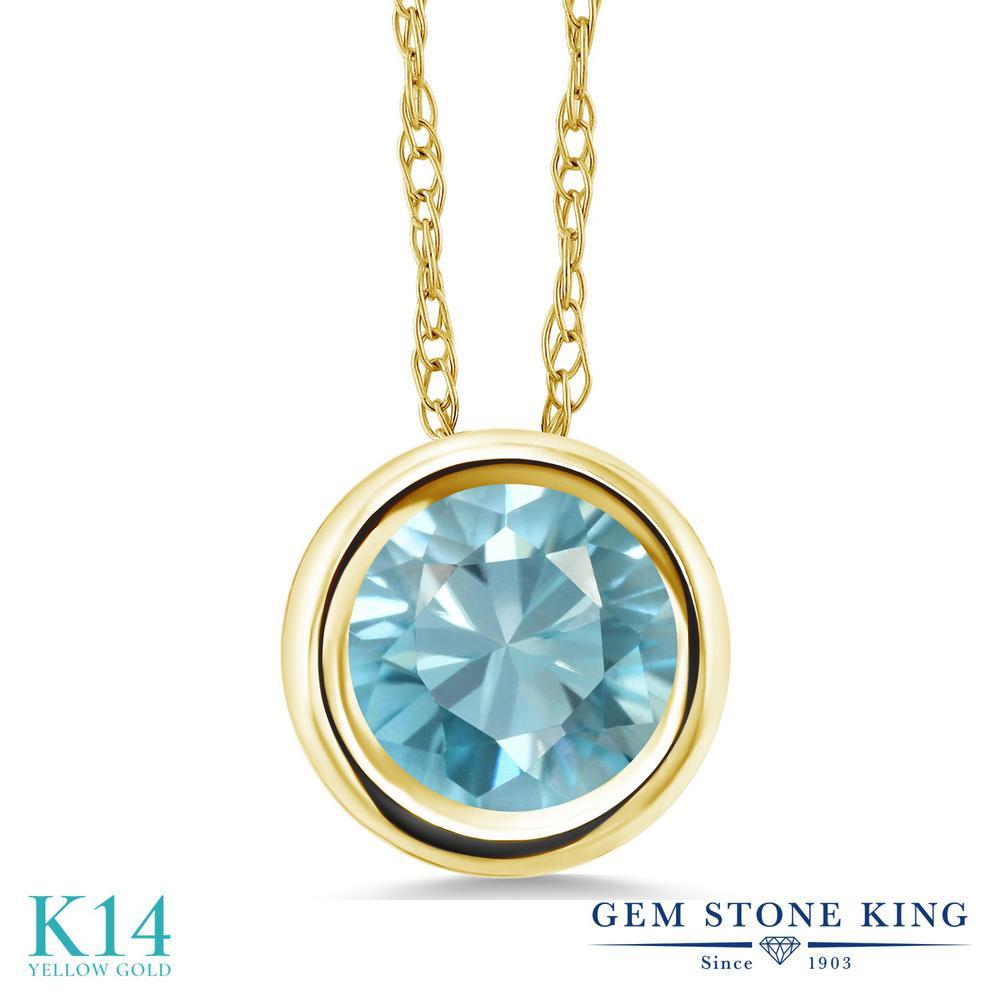 Gem Stone King 1.2カラット 天然石 ブルージルコン 14金 イエローゴールド(K14) ネックレス ペンダント レディース 大粒 一粒 シンプル 天然石 12月 誕生石 金属アレルギー対応 誕生日プレゼント
