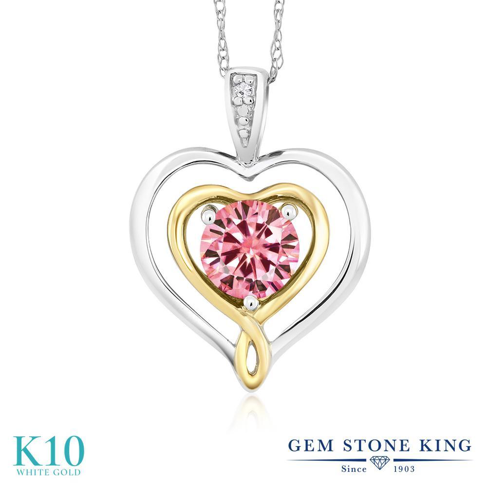 Gem Stone King 0.5カラット ピンク モアサナイト Charles & Colvard 10金 ホワイトゴールド(K10) ネックレス ペンダント レディース モアッサナイト 小粒 一粒 シンプル 金属アレルギー対応 誕生日プレゼント