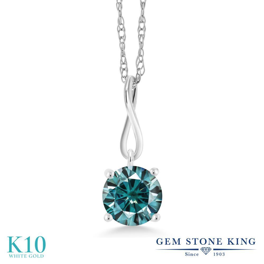 Gem Stone King 1カラット ブルー モアサナイト Charles & Colvard 10金 ホワイトゴールド(K10) ネックレス ペンダント レディース モアッサナイト 大粒 一粒 シンプル 金属アレルギー対応 誕生日プレゼント