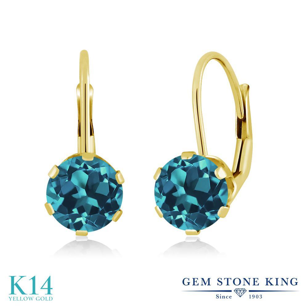 Gem Stone King 1.5カラット 天然 ロンドンブルートパーズ 14金 イエローゴールド(K14) ピアス レディース シンプル ぶら下がり レバーバック 天然石 11月 誕生石 金属アレルギー対応 誕生日プレゼント