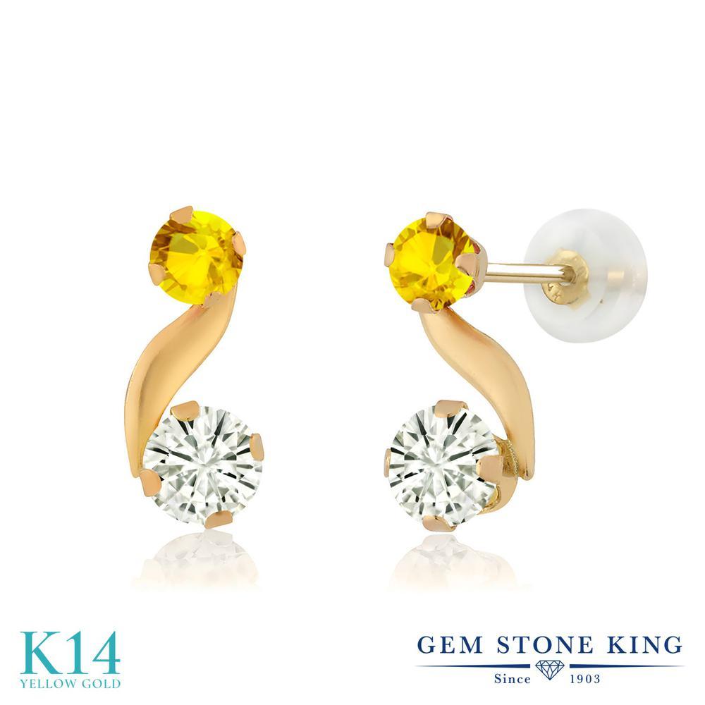 Gem Stone King 0.73カラット Forever Classic モアサナイト Charles & Colvard 天然 イエローサファイア 14金 イエローゴールド(K14) ピアス レディース モアッサナイト 小粒 スタッド 金属アレルギー対応 誕生日プレゼント