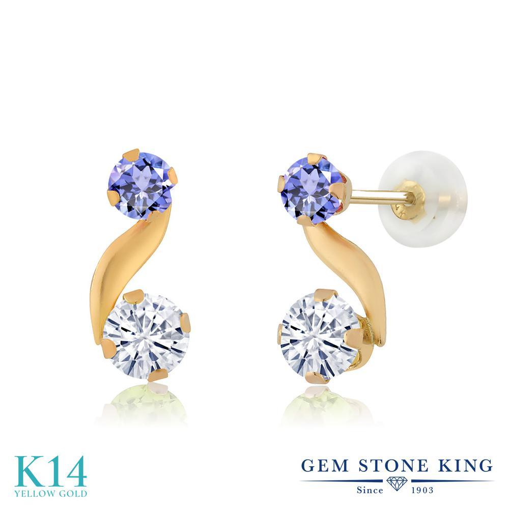 Gem Stone King 0.7カラット Forever Classic モアサナイト Charles & Colvard 天然石 タンザナイト 14金 イエローゴールド(K14) ピアス レディース モアッサナイト 小粒 スタッド 金属アレルギー対応 誕生日プレゼント