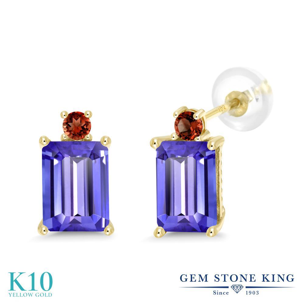 Gem Stone King 3.98カラット 天然石 タンザナイト 天然 ガーネット 10金 イエローゴールド(K10) ピアス レディース 大粒 スタッド 天然石 12月 誕生石 金属アレルギー対応 誕生日プレゼント
